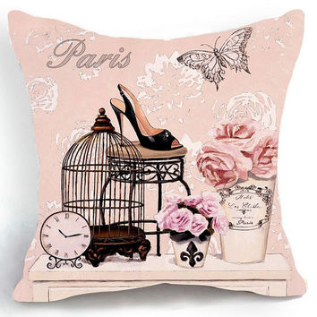 18x18 Vintage Paris Birdcage High Heel Butterfly Flower Pink Pillow Cover