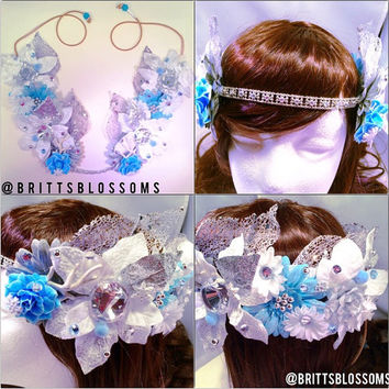 Winter Queen Blossom Crown, Flower Halo, Flower crown, Flower headband, Festival, Hippie Headband, Coachella, Rave, Bridal