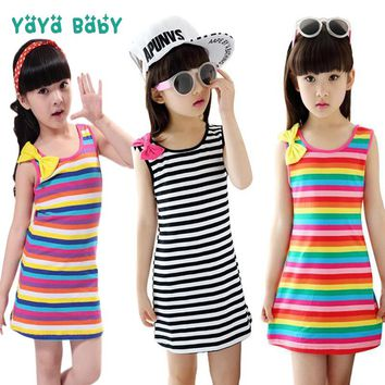 2 3 4 5 6 7 8 9 10 11 12 Year Girls Clothes Striped Sleeveless Kids Dresses for Girls Summer Cotton Baby Teens Children Clothing