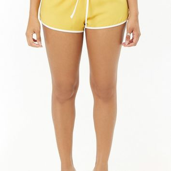 Contrast Trim Woven Dolphin Hem Shorts