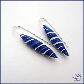 Dangle Earrings Blue White, Minimalist Earrings, Polymer Clay Jewelry, Sterling Silver, Stripes Blue White