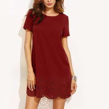 Burgundy Laser Cut Out Scalloped Hem Plain Dress Ladies Round Neck Short Sleeve Shift Dress Elegant Dress