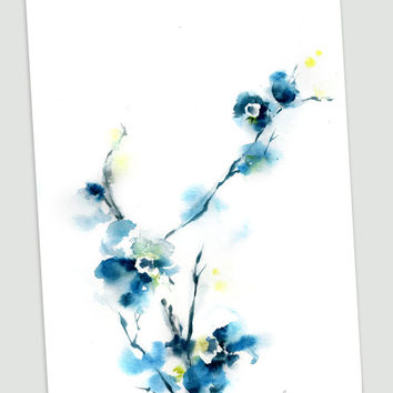 Abstract Blue Blossoms Original Watercolor Painting, Floral Nature Abstract Wall Art