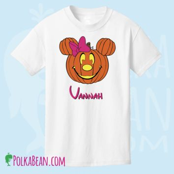 Halloween Minnie Mouse Pumpkin Shirt Personalized Girls or Adult