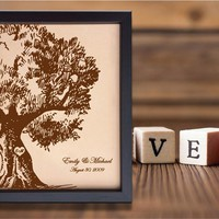 Lik70 Leather Engraved 3rd Anniversary Gift Wedding Third Anniversary gift Name Date tree