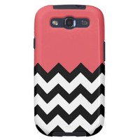 Persimmon Coral Pink Pattern On Large Zigzag Samsung Galaxy S3 Cases from Zazzle.com