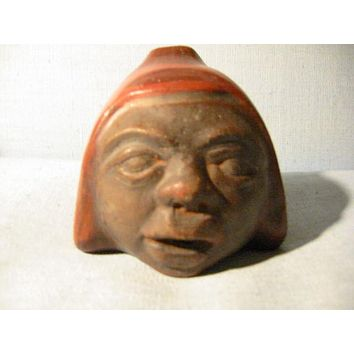 Chilean Ceramic Figure Head Terracotta Signature Portrait Bust