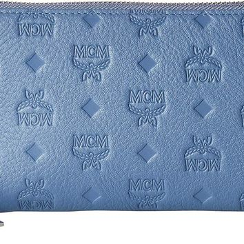 MCM Womens Klara Monogrammed Leather Charm Zipped Wallet Large