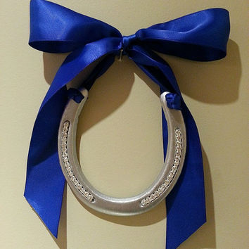 silver horseshoe, horse shoe, good luck, hand painted Silver, rhinestone bling adorned w royal blue satin bow, horseshoe art