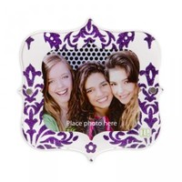 LockerLookz Purple Damask Print Glitter Locker Frame