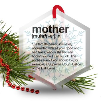 Mother Definition Funny Glass Christmas Ornament