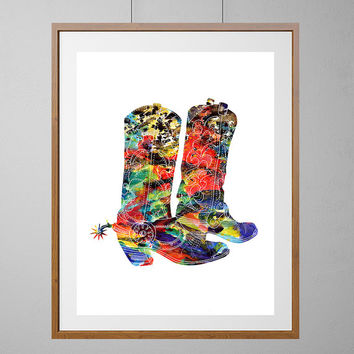 Texan boots watercolor print Texas art poster, cowboy cowgirl boots illustration ranch farm art grunge indie art [NO129]