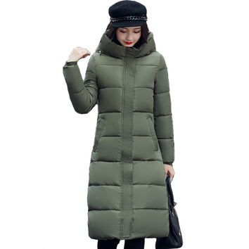 High quality stand collar coat women winter long hooded with a hat warm thicken womens jacket solid padded female parka