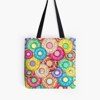 'Donuts Punchy Pastel flavours Pattern' Tote Bag by BluedarkArt