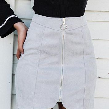 8DESS Leather Suede Pencil Skirt Women Zipper Ring Autumn Winter High Waist Short Skirt