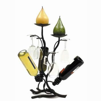 Creative Creations A116WC-T Art Deco Three Bottle Table Wine/Candle Stand with Four Glass Holders