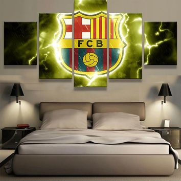 5 Pieces Futbol Club Barcelona Logo Design Of Team Canvas Modern Wall Painting Fan Poster Fashion Modern Canvas Printed Painting