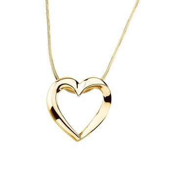 22mm Heart Slide & Snake Chain Necklace in 14k Yellow Gold, 18 Inch