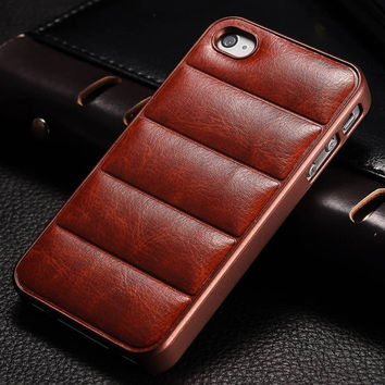 Vintage Hard Case For Apple iPhone 4 4S PU Leather Back Plastic Frame Mobile Phone Back Cover Sofa For iPhone4 New 2016