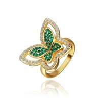 18K Yellow Gold Plated Green and White Swarovski Elements Crystal Butterfly Ring, Size 8