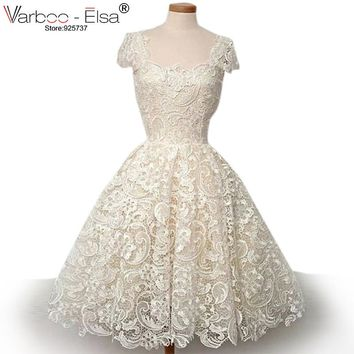Cute short wedding dress 2017 beach wedding dress lace wedding dress short sleeve knee length princess wedding dress