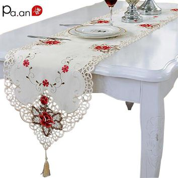 Fashion Embroidered Table Runner Floral Lace Dust Proof Covers for Table Home Party Wedding Table Decoration Pa.an