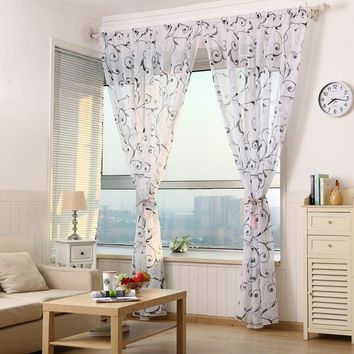 Transparent Tulle Printing Curtain Bedroom Kitchen Office Short Tulle Window Door Curtain Living Room Decorations