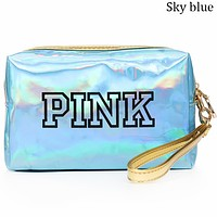 Victoria's Secret 2018 new women's fashion laser reflective small square bag F0695-1 sky blue