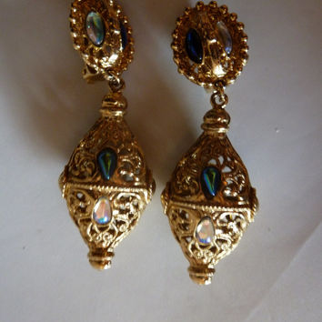 Vintage gold filigree earrings glass iridescencent accent beads persian ispired bali costume jewelry 1970s 1980s