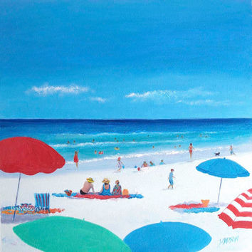 Beach Painting, Beach Art, Canvas art, beach artwork, coastal art, Beach Umbrellas, beach decor, seascape, Etsy Art, home decor, Jan Matson