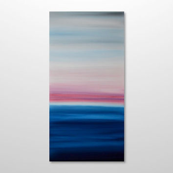 Large 18 x 36 Abstract Seascape Painting - Original Minimalist Modern Canvas Acrylic Wall Art Decor -Blue Ocean, Pink Sunset - Vertical Tall