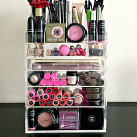 Acrylic Makeup Organizer 4 Drawer with Storage Modular Tray