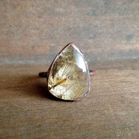 Rutilated Quartz Teardrop Ring - Statement Ring - Unique Ring - Raw Stone Ring - Copper Ring - Semiprecious Stone Ring - SIZE 9