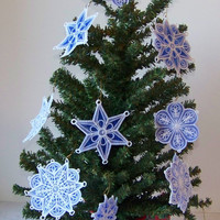 Ornaments, Christmas, Organza, Star and Snowflakes