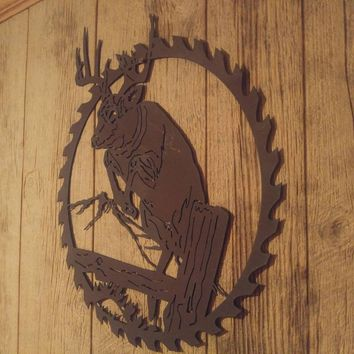 Deer Art, Door hanger, Wall decor, Antler Hanger, Wildlife, Deer Hunting, Door Sign, Deer Decor, Gifts for Him, Saw Blade, Metal Deer Art