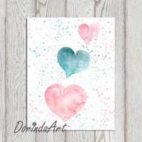 Nursery heart print Heart printable Pink heart pink teal nursery decor Watercolor heart print 11x14 5x7 8x10 Girls bedroom INSTANT DOWNLOAD