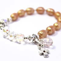 Rosary Bracelet, Golden Akoya Fresh Water Pearls, Prayer Beads, Silver colored Cross and Accents, Swarovski Crystals