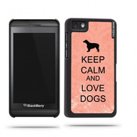 Keep Calm And Love Dogs Coral Floral Blackberry Z10 Case - For Blackberry Z10