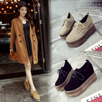 Korean Stylish Thick Crust Height Increase Round-toe Platform Shoes [9448886855]