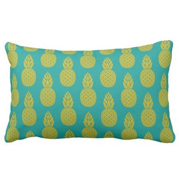 Tropical Hawaiian Pineapple Pattern Lumbar Pillow