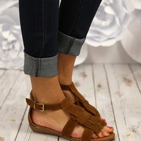 Wild Horses Fringe Sandals in Tan
