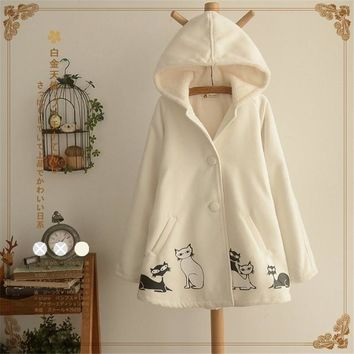 Spring Fall New Women Jackets Cute Chinese Style Mori Girl Cat Print Hooded Cape Coat Single Breasted Loose Casual Outerwear