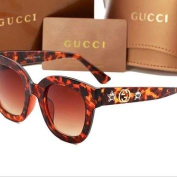 GUCCI men's and women's tide brand fashion wild beautiful sunglasses F-ANMYJ-BCYJ Leopard