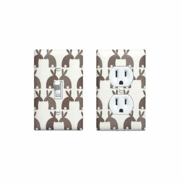 READY TO SHIP Bunny Light Switch Plate & Outlet Cover Set / Woodland Rabbit Nursery Decor / Boys Girls Room / Tan Brown White