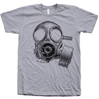 Mens Unisex Custom Hand Printed Vintage Gas Mask on American Apparel Crew Neck Tshirt Available: S, M, L, XL, XXL