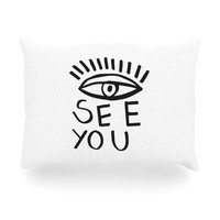 "Vasare Nar ""Eye See You"" White Oblong Pillow"