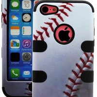 myLife Black + White Baseball Print 3 Layer (Hybrid Flex Gel) Grip Case for New Apple iPhone 5C Touch Phone (External 2 Piece Full Body Defender Armor Rubberized Shell + Internal Gel Fit Silicone Flex Protector)