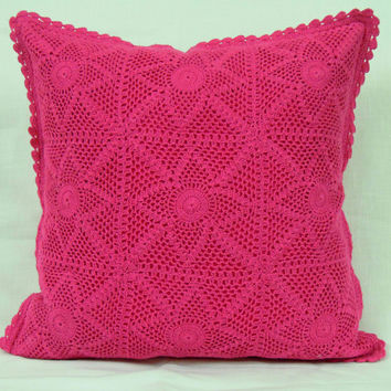 NightSky CROCHET CUSHION COVER- Handmade- Home Decor Cushion Cover - Sofa Pillow - Decorative Pillow - 2015 trends - Fucia Color