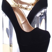 BLACK VELVET METALLIC STRAP GOLD ACCENTED CLEAR CHUNKY HIGH HEEL PUMPS