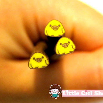1pc Small Kawaii Yellow Chick Cartoon Polymer Clay Cane / Fimo Cane Stick For 3D Nail Art Miniature Sweet Food / Dessert / Cake Deco D5